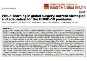 Publication Feature: Virtual learning in global surgery: current strategies and adaptation for the COVID-19 pandemic