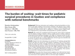 Publication Feature: The burden of waiting: wait times for pediatric surgical procedures in Quebec and compliance with national benchmarks