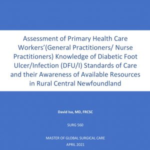 SURG 560 Final Report: Assessment of Primary Health Care Workers'(General Practitioners/ Nurse Practitioners) Knowledge of Diabetic Foot Ulcer/Infection (DFU/I) Standards of Care and their Awareness of Available Resources in Rural Central Newfoundland