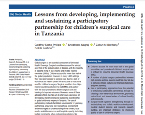 Publication Feature: Lessons from developing, implementing and sustaining a participatory partnership for children's surgical care in Tanzania