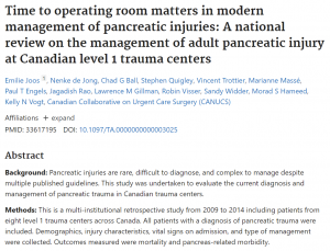 Time to operating room matters in modern management of pancreatic injuries: A national review on the management of adult pancreatic injury at Canadian level 1 trauma centers