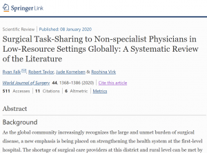 Surgical Task-Sharing to Non-specialist Physicians in Low-Resource Settings Globally: A Systematic Review of the Literature