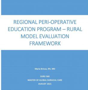 SURG 560 Final Report: Regional Perioperative Education Program – Rural Model Evaluation Framework